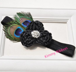 Wholesale Baby Feather Headband Black - 50pcs Baby Feather Peacock Black Lace Headband