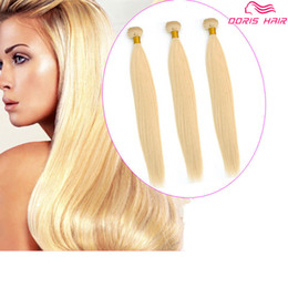 Wholesale Blond Remy Hair 613 - luxury Blond 613 color remy Hair Wefts bundles Brazilian Indian human hair weave silk straight colored dyeable free DHL