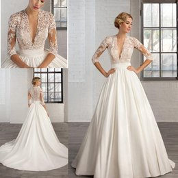 Wholesale Custom Made Band - 2017 Sexy Deep V Neck Lace Appliques A Line Wedding Dresses 3 4 Long Sleeve Sheer Illusion Chapel Train Ruched Band Bridal Gowns