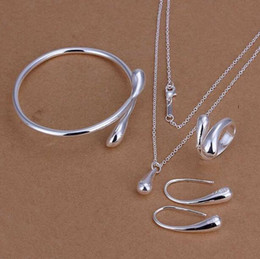 Wholesale Low Price Studs - Factory Lowest price Wholesale 925 silver Fashion Jewelry Set 925 silver kelp crystal pendant Necklace&ring&earrings stud set