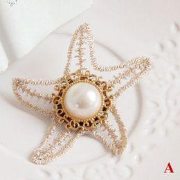 Wholesale Diy Lace Brooch - Bohemian Fashion Lace Sea Star Pearl Brooch Pin Lolita Prom Party Fancy Dance Breastpin Clip Flower Beads Hat Cardigan Dress Bag Decor DIY