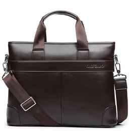 Wholesale Blue Leather Briefcase - Wholesale- Classical Briefcase Black Brown Men Messenger Bag Leather Brand Crossbody Shoulder Bag Man Purse Tote 2015 Business Men Handbag