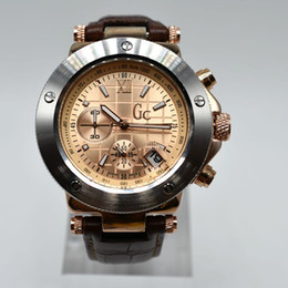 Wholesale Working Chronograph - All functions work AAA watch famous Gc brand watch chronograph Clock leather men watches Quartz Sports military Wristwatches relojes mujer