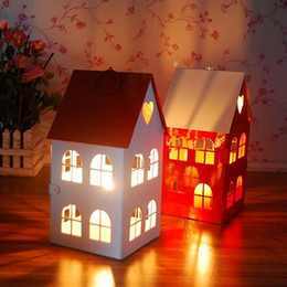 Wholesale Craft Lantern Decoration - The Red House Candlestick Creative Iron Craft Candle Lantern Lovers Romantic Candlelight Dinner Elegant Candle Holders Home Decor