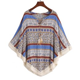 Wholesale Lace Ponchos - Summer Traditonal Elephants Flowers Printing Cape Feather Lacing Up Batwing Sleeves Tassels Shawl Women's Poncho Onesize