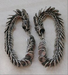 Wholesale Chinese Cloisonne Bracelets - Tribal exotic chinese handmade miao silver dragon bracelet