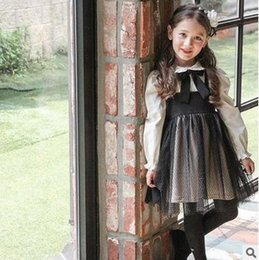 Wholesale Girls Bow Tie Suspenders - Girls princess dresses Autumn new Kids Bowsnot tie suspender dress children doll collar flare sleeve mesh gauze dress Kids clothes G1051