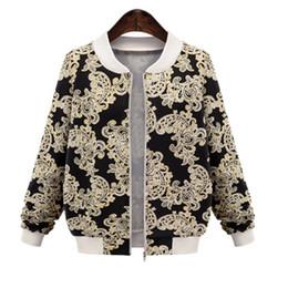 Wholesale Womens Tops Size Large - Wholesale- Women Basic Jackets 2016 New Brand Casual Jacket Womens Autumn Tops 5XL large sizes Long Sleeve Fashion Print Coat Female