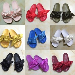 Wholesale Gold Embossed Leather - (With Box) Women Slippers Fenty Bandana Slide Leadcat Fenty rihanna Bowtie slippers Bow Slides Ladies Slipper White Pink Red Gold size 36-41