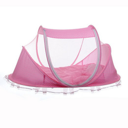 Wholesale Baby Crib Canopy Netting - Wholesale-Summer Baby Infants Insect Netting Portable Baby Bed Crib Folding Mosquito Net Infant Cushion Mattress Canopy Mosquito Net Tent