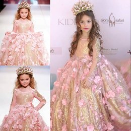 Wholesale Golden Line Dress - Gorgoeus Glitter Flower Girl's Dresses Golden Sequins Pink Hand Made Flowers Long Sleeves Birthday Dresses 2017 Lovely Grils Pageant Dresses