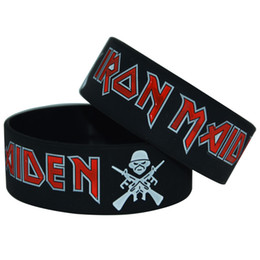Wholesale Christmas Classics Music - 50pcs lot Classic Rock Band Iron Maiden Silicone Wristband 1 Inch Wide Bracelet for Music Fans