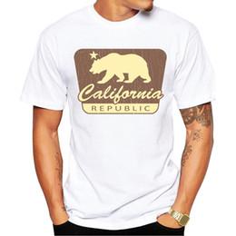 Wholesale California Shirts - 2017 Men Fashion T shirt Hipster California Republic Vintage Printed Tee Shirts Short Sleeve Tops California Bear T-Shirt