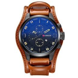 Wholesale Curren Leather - CURREN 8225 dial calendar watch waterproof blue quartz watch military leather surface