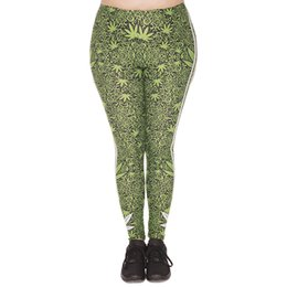 Wholesale Stripe Leggings Girls Autumn - Lady Leggings Lucky Leaf Stripes 3D Print Girl Comfortable Green Pants Women Spring Summer Autumn Trousers Plus Size Fits L XL XXL (J45757)