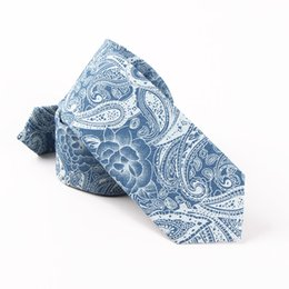 Wholesale Free Print Backgrounds - TIESET 100% Cotton Print Floral Necktie Blue Background With White Flowers Men's Casual Dress Free Shipping