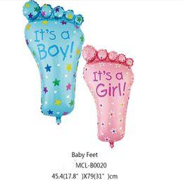 Wholesale Baby Boy Birthday Gifts - 31inch Big Feet Color Foil Balloon Party Decoration Baby Boys Girls Birthday Gift Cartoon Balloon Toys
