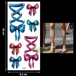 Wholesale Red Eye Tattoo - Wholesale- New 1PC Fashion Women Men Waterproof Temporary Tattoo Removable Vivid Body Art 3D-07 Red Pink Blue Green Bow Bowknot Bandage