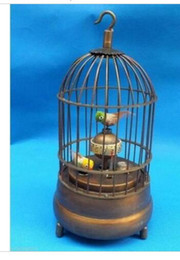 Wholesale New Ornaments Lights - decoration bronze factory Pure Brass Antique Old Exquisite Chinese brass bird cage Mechanical Table Clock Alarm Clock statue