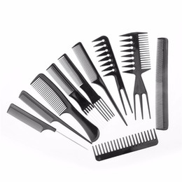 Wholesale Professional Round Brushes - 10pcs set Professional Salon Combs Set Black Plastic Barbers Hair Styling Tools Hairdressing Salon Free Shipping