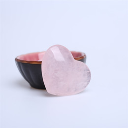 Wholesale Antique Carved Box - HJT rose pink Quartz crystal Heart Carving Craft Stone Chakra Healing Reiki Stones Lover gife stone crystal Heart shape