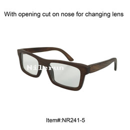 Wholesale Bamboos Wipes - hot selling rectangle brown bamboo short-sighted optical eyeglasses