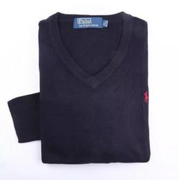 Wholesale Polo V Neck Sweaters - New 2018 Wholesale-autumn sweater men famous brand pullover men polo sweater Camisola homens sueter de hombres vestidos blusa masculina