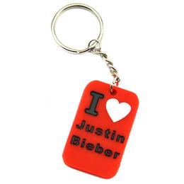 fans di justin bieber Sconti Commercio all'ingrosso 50PCS / Lot inchiostro riempito Logo I Love Justin Bieber portachiavi in silicone per la musica Fans regalo di promozione