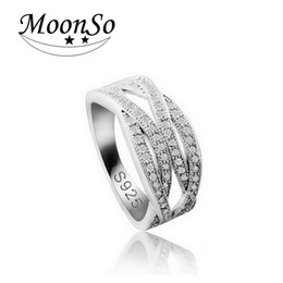 Wholesale Vintage Promise Rings - Moonso Vintage Fashion Rings For Women Rhinestone Ring CZ Diamond Promise Ring Band Double Cross Trendy Ring R225