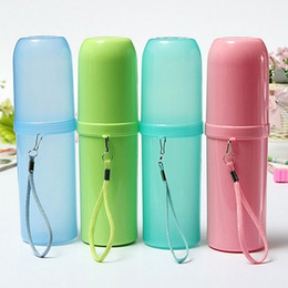 Wholesale Toothbrush Box Travel - 4 Colors Portable Utility Outdoor Travel Toothbrush Storage Box Holder Tooth Mug Toothpaste Towel Cup Organizer Bath Accessories