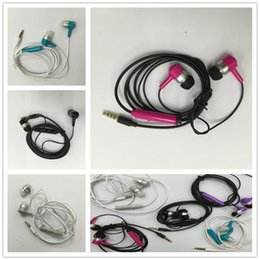 Wholesale Colorful Ear Headphones - Colorful 3.5mm Earphone In-Ear Headphones with Mic Stereo plastic Headset for all IOS phone mobile android smart phone earbuds with packing