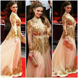 Wholesale Gold Grapes Charm - Luxurious Lace 2017 Arabic Evening Dresses Crew Long Sleeves Beaded A-line Tulle Prom Dresses Sexy Charming Caftan Vintage Gowns