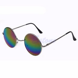 Wholesale Vintage Hippie Sunglasses - Wholesale-Free Shipping Vintage Men Women Sunglasses Hippie Retro Round Metal Eyeglasses Glasses Eyewear