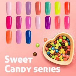 Wholesale Sweet Nail Polish Candy - Wholesale-2016 Newest Sweet Candy Series UV Nail Gel Polish Sexy mix Pure Pink Color Gel Polish Long Lasting Salon Color Nail Gel Varnish