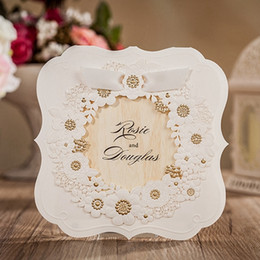 Wholesale Elegant Wedding Invitation Cards - elegant Customizable 3D White Groom Bride flower Wedding Invitations Cards with Envelope and Envelope Stickers Wedding Supplies CW6082