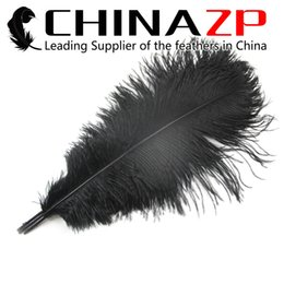Wholesale Decorative Black Feathers - Gold Plumage Supplier CHINAZP Factory 50pcs lot 40~45cm(16~18inch) Length Exporting Good Quality Dyed Black Decorative Ostrich Feather