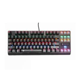 Wholesale 87 Key Keyboard - Professional Mechanical Gaming Keyboard Backlit RGB Chroma Rainbow LED Backlit 87 Keys Gaming Keyboard Anti-Ghosting Blue Switch