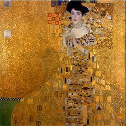Wholesale Gustav Klimt Oil Hand Paintings - Gustav Klimt - Female Portrait of Adele Bloch-Bauer I,Pure Hand painted world famous Art Oil Painting On Canvas,Multi sizes available Kl001