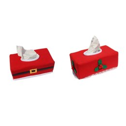 Wholesale Paper Belts - Wholesale- Christmas Style Creative Santa Claus Belt Felt Tissue Box Case Holder home decoration napkin holder for paper towels 2Style 1Pcs