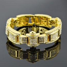Wholesale Diamond Luxurious - Free Shipping Men's Brand Fashion Luxurious Full Diamond Bracelets 18K Gold Plated European and American style 3 Colors