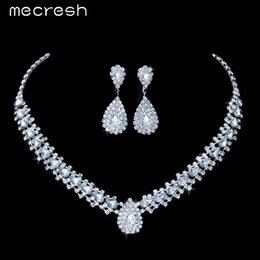 Wholesale Teardrop Crystal Bridal Set - Mecresh 4 Colors Crystal Bridal Jewelry Sets Choker Necklace Earrings Teardrop African Beads Jewelry Set Wedding Jewelry TL001