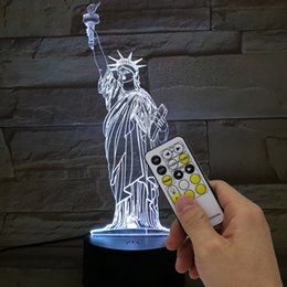 Wholesale Switch Usb Lamp - Statue of Liberty 3D Night Light RGB Changeable Mood Lamp LED Light DC 5V USB Decorative Table Lamp with remote control