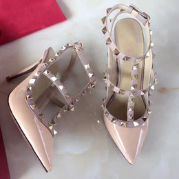 Wholesale Classic Stiletto High Heels - 2017 brand designer women high heels 9.5cm Patent Leather fashion rivets sexy pointed shoes party wedding shoes Double straps sandals C20