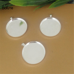 Wholesale Pendant Tray Silver Round - BoYuTe 20Pcs Round 20MM 25MM Hot sale Cameo Cabochon Base Setting Diy Silver Bronze Pendant Blank Tray