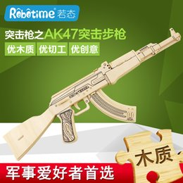 Wholesale Wooden Military Toys - 44cm Early Childhood Education 3d Diy Wooden Puzzles Military Toy Guns M4 AK47 Model