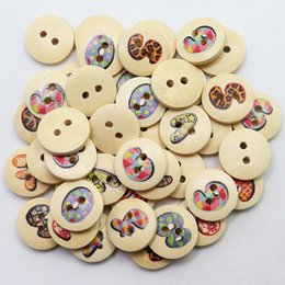 Wholesale Natural Wood Craft Buttons - Wholesale Acces 100pcs 15mm White and Natural Wooden Letter Buttons 2 Holes Painted Alphabets Wood Sewing Crafts Scrapbooking Knopf Boutons
