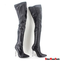 Wholesale Thigh High White Lace Boots - Wholesale-Woman's Spring Autumn Lace-Up Thigh High Boots Sexy Boots High Heel Patent Leather Over Knee Pointed Toe Boots Customize Design