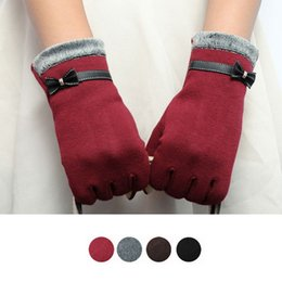 Wholesale Womens Leather Opera Gloves - Feitong Fashion Elegant Womens Screen Winter Warm Wrist Gloves Mittens Cashmere Bow Full Finger Top Quality