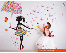 Wholesale Black Flowers Wall Stickers - stickers decor Removable Sticker Butterfly Dance Girl Flower Vinyl DIY Girl Home Room Art Decal Poster Stickers Wall Decoration