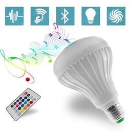 rgb do bluetooth Desconto E27 RGB Led Bulb 85 ~ 265V Bluetooth Speaker Bulb Música Jogando Dimmable 12W E27 LED Lâmpada Luz com 24 teclas de controle remoto